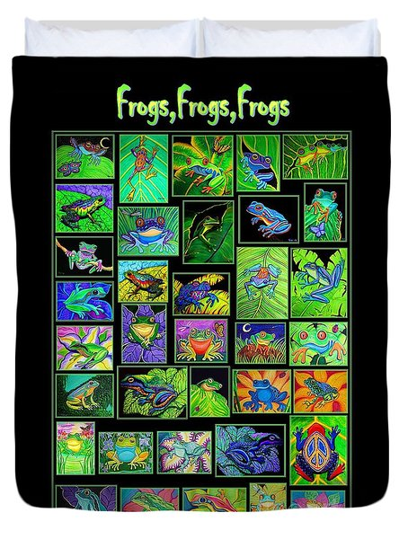 Frogs Poster Duvet Cover