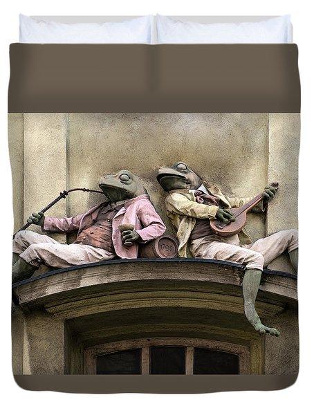 Frogs Sculpture Duvet Cover