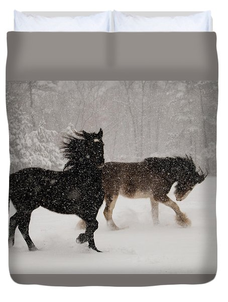 Frolic In The Snow Duvet Cover