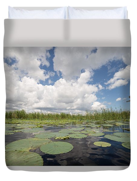 From A Frog's Point Of View - Lake Okeechobee Duvet Cover