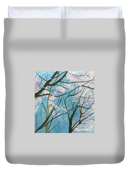 Duvet Cover featuring the painting From Lindsay by Mary K Conaboy