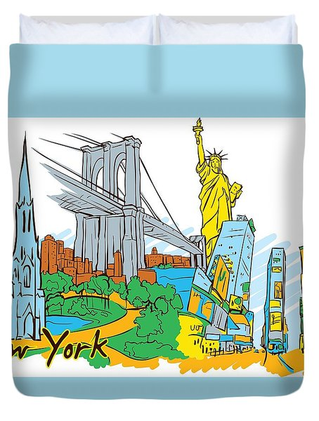 From Old To New York Duvet Cover by Stanley Mathis