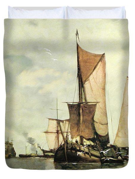 From Sail To Steam - Transitions Duvet Cover by Lianne Schneider