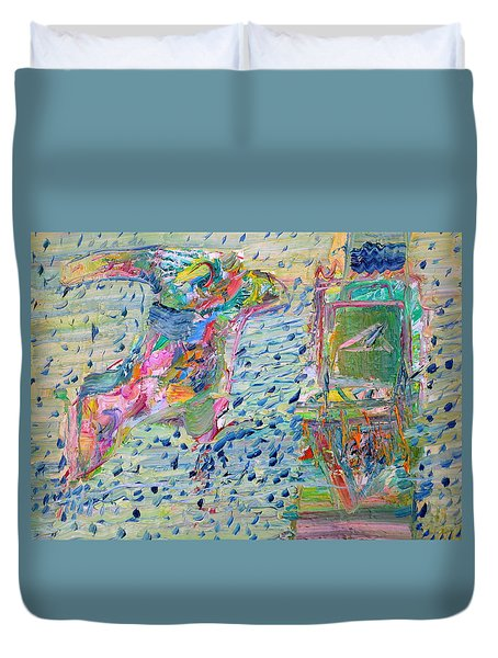 Duvet Cover featuring the painting From The Altered City by Fabrizio Cassetta