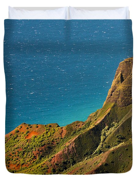 Duvet Cover featuring the photograph From The Hills Of Kauai by Debbie Karnes