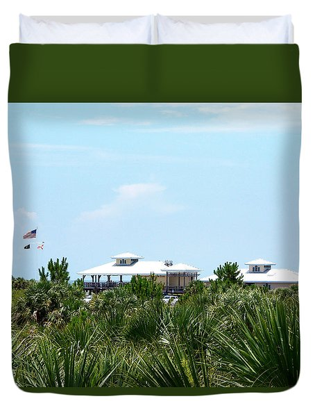 Duvet Cover featuring the photograph From The Honey Moon Island Visitor Center 000 by Chris Mercer