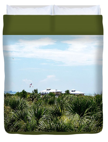 Duvet Cover featuring the photograph From The Honey Moon Island Visitor Center  by Chris Mercer