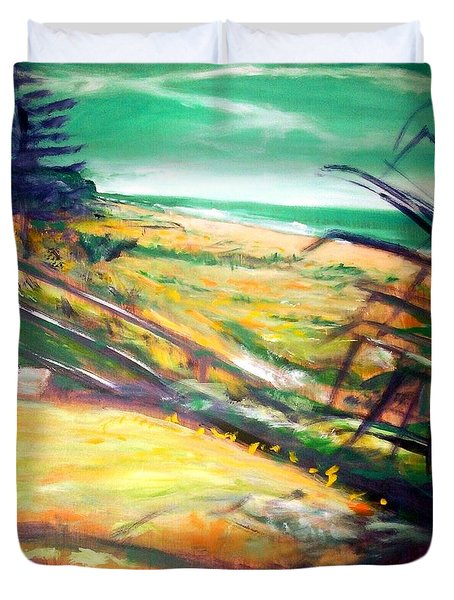 Duvet Cover featuring the painting From The Lawn Pandanus by Winsome Gunning
