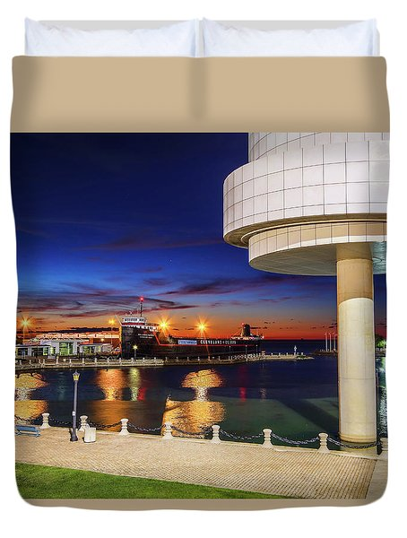 Duvet Cover featuring the photograph From The Rock Hall by Brent Durken