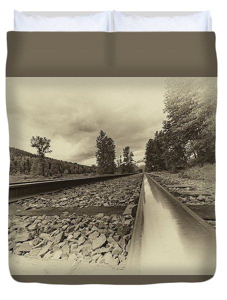 Duvet Cover featuring the photograph From The Track Antique by Darcy Michaelchuk