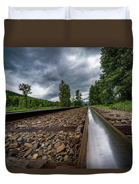 Duvet Cover featuring the photograph From The Track by Darcy Michaelchuk