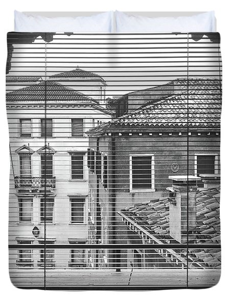 Vintage Buildings From The Window In Venice, Italy - Black And White Duvet Cover