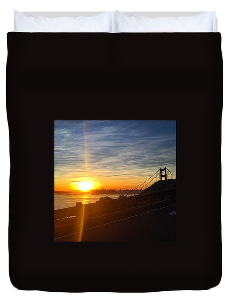 Sunrise Over San Francisco Duvet Cover by Eugene Evon