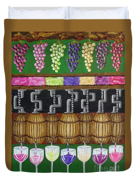 Duvet Cover featuring the painting From Vine To Wine by Katherine Young-Beck