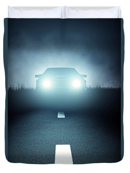 Front Car Lights At Night On Open Road Duvet Cover