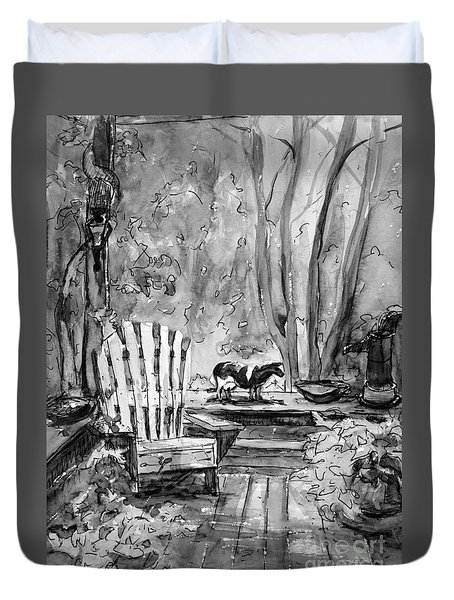Front Deck Bw Duvet Cover by Gretchen Allen
