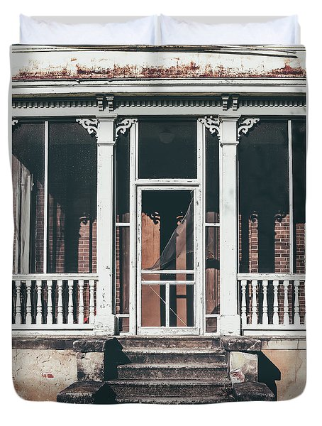 Duvet Cover featuring the photograph Front Door Of Abandoned Building by Kim Hojnacki