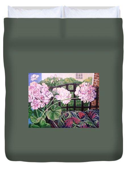 Front Porch Flowers Duvet Cover