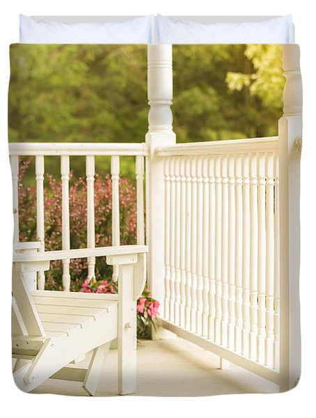 Front Porch In Summer Duvet Cover