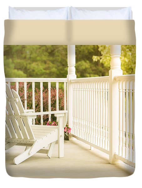 Front Porch In Summer Duvet Cover by Diane Diederich