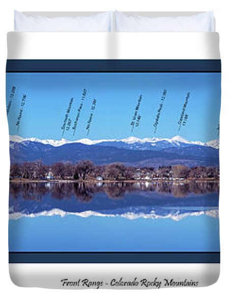 Front Range Panorama With Peaks Identified Duvet Cover