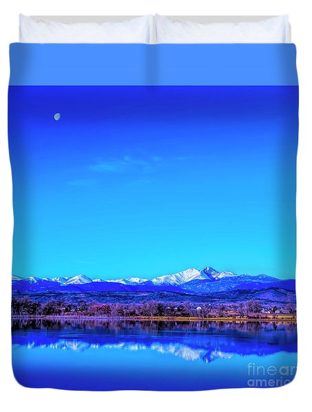 Front Range View With Moon Duvet Cover