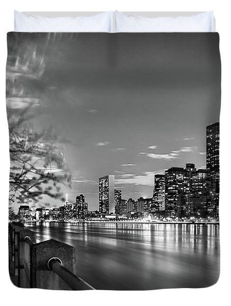 Duvet Cover featuring the photograph Front Row Roosevelt Island by Az Jackson