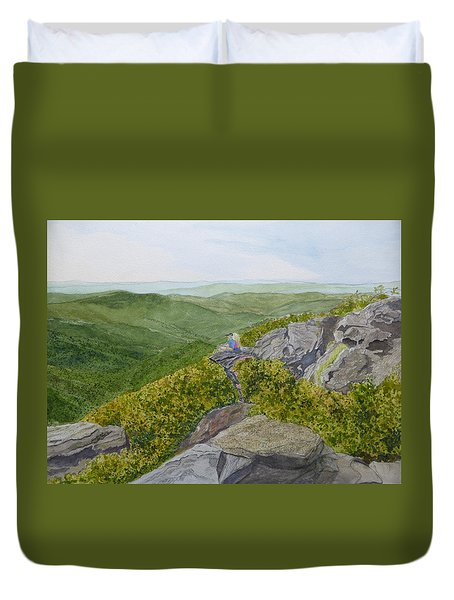 Duvet Cover featuring the painting Front Row Seats by Joel Deutsch