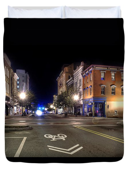 Front Street In Wilmington North Carolina Duvet Cover by Greg Mimbs