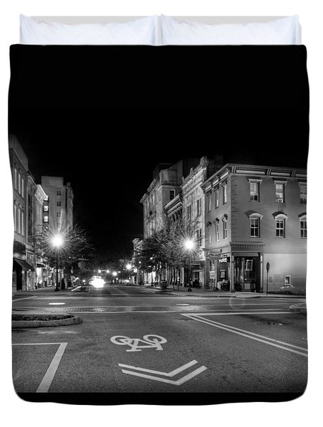 Front Street In Wilmington North Carolina In Black And White Duvet Cover