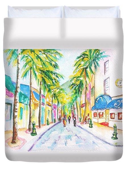 Front Street Philipsburg St. Maarten  Duvet Cover