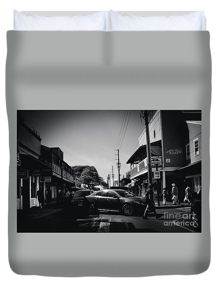 Duvet Cover featuring the photograph Front Street  by Sharon Mau