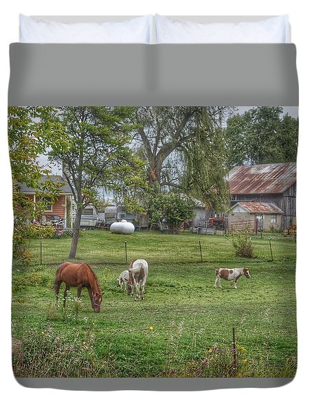 1008 - Front Yard Ponies Duvet Cover