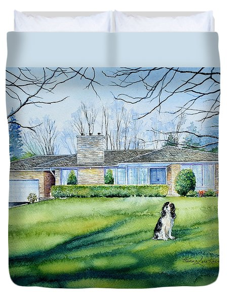 Duvet Cover featuring the painting Front Yard Protection by Hanne Lore Koehler