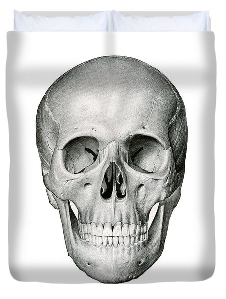 Frontal View Of Human Skull Duvet Cover