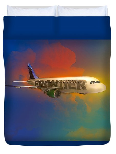Frontier Airbus A-319 Duvet Cover by J Griff Griffin