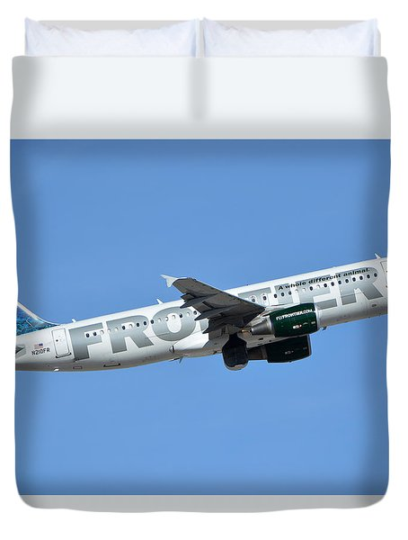 Frontier Airbus A319-214 N210fr Sheldon The Sea Turtle Phoenix Sky Harbor January 21 2016 Duvet Cover by Brian Lockett