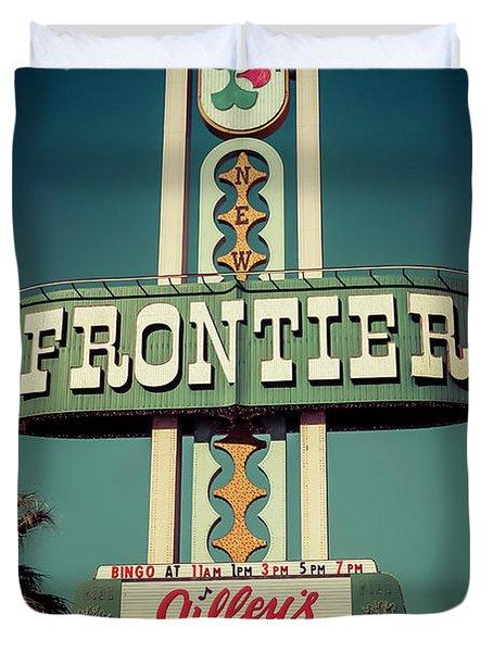 Frontier Hotel Sign, Las Vegas Duvet Cover