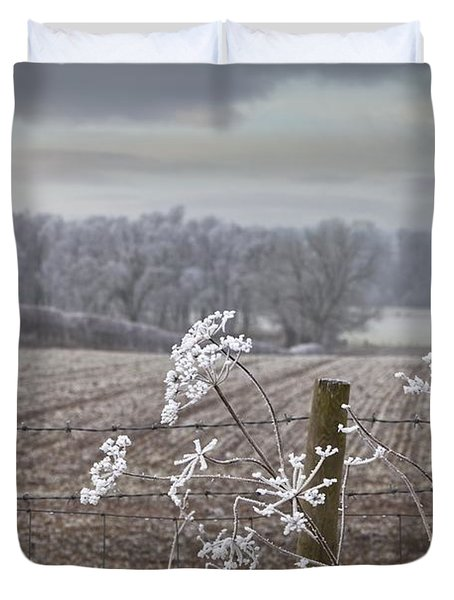 Frost-covered Rural Field Cumbria Duvet Cover by John Short