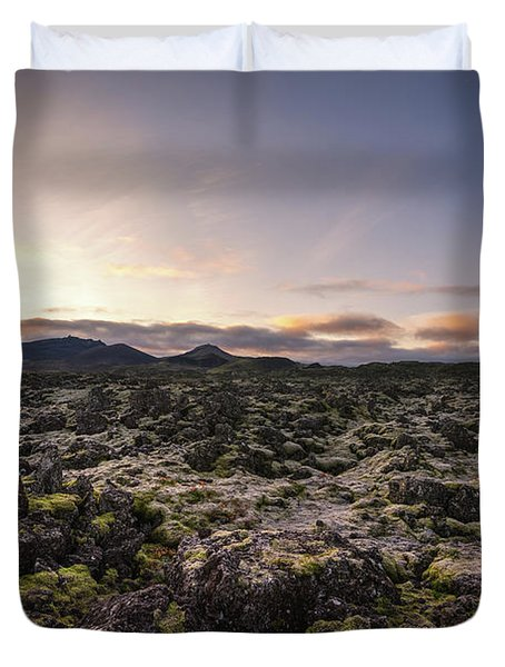 Frost Covers The Lava Field  Duvet Cover