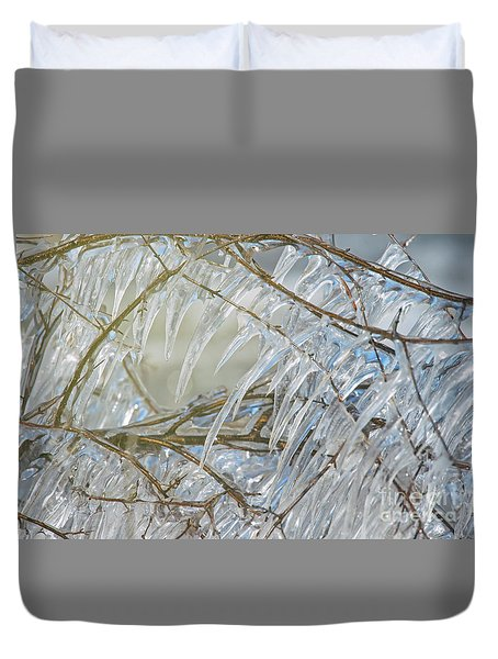 Duvet Cover featuring the photograph Frostbite.. by Nina Stavlund