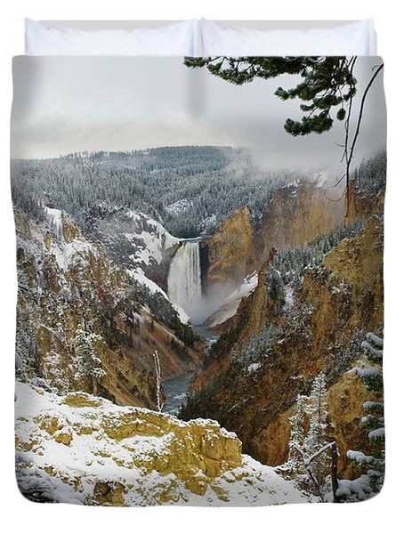 Duvet Cover featuring the photograph Frosted Canyon by Steve Stuller