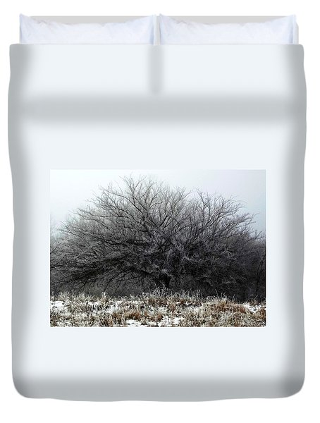 Duvet Cover featuring the photograph Frosted Elm by Shelli Fitzpatrick