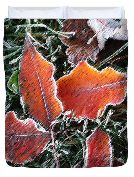 Duvet Cover featuring the photograph Frosted Leaves by Shari Jardina