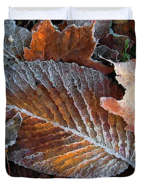 Duvet Cover featuring the photograph Frosted Painted Leaves by Shari Jardina