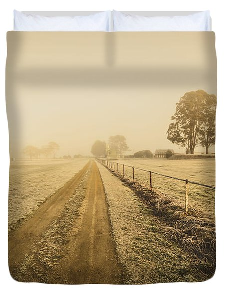 Frosted Road In Outback Australia Duvet Cover