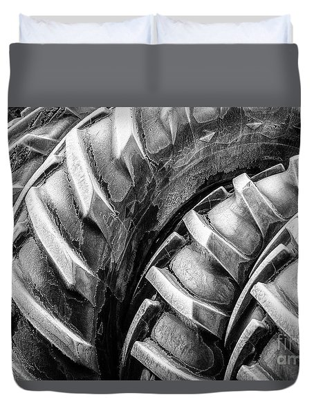 Duvet Cover featuring the photograph Frosted Tires by Brad Allen Fine Art