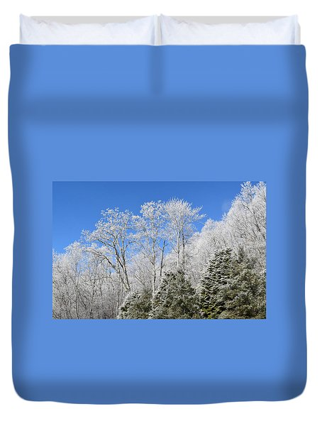 Frosted Trees Blue Sky 1 Duvet Cover