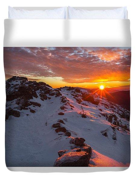 Frosty Alpine Sunset Duvet Cover