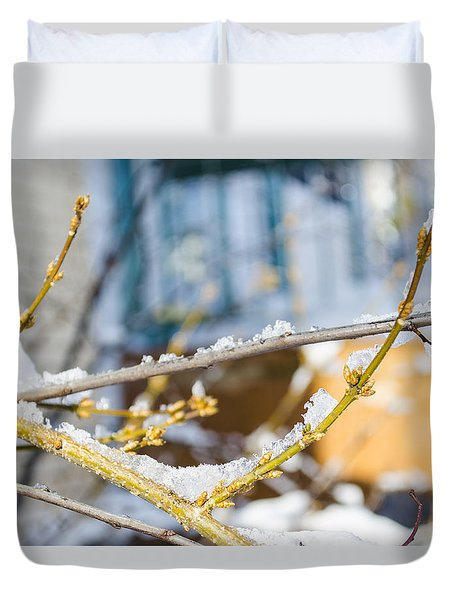 Duvet Cover featuring the photograph Frosty Branches by Deborah Smolinske